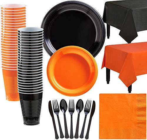 Party City Black and Orange Plastic Tableware Kit for 50 Guests, 537 Pieces, Includes Plates, Napkins, and Table -