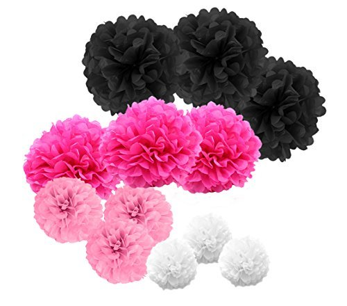 paperjazz Paper pom pom for Graduation Valentine's Day Wedding Diva Birthday Party Gold Pink (Gold Pink) (Black Pink)
