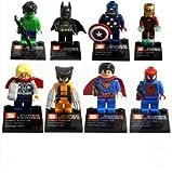 MTARA Iron Man Spiderman Superman Batman Hulk Wolverine 8 Mini Figures Set Lego Fit Free