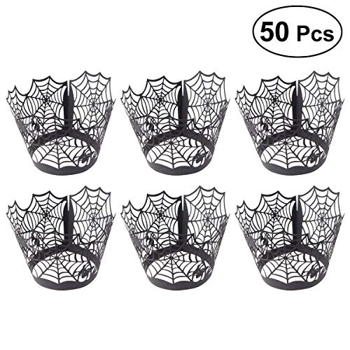 ULTNICE Cupcake Wrappers Spider Web Cupcake Wrapper Artistic Lace Laser Cut Liner Baking Cup Muffin Case Trays Wedding Birthday Halloween Party Decoration 50PCS -