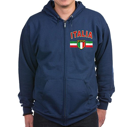 (CafePress - Italian Pride Zip Hoodie (Dark) - Zip Hoodie, Classic Hooded Sweatshirt with Metal Zipper Navy)