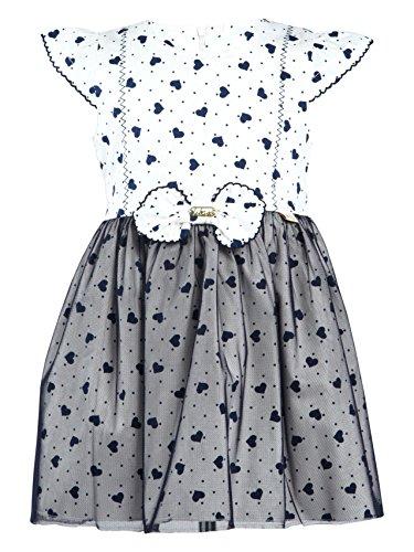 Lilax Little Girls' Heart Printed Tulle Overlay Dress (3T, White)