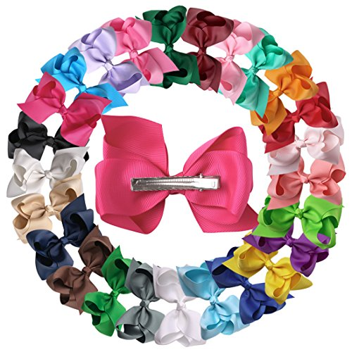 - XIMA 25pcs 4inch Grosgrain Ribbon Baby Boutique Hair Bows Clips for Hair Accessories (with clip Mixcolors)