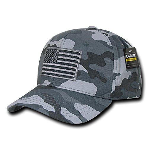 USA US American Flag Embroidered Tactical Operator Cotton Baseball Hat Cap (Gray Camo) (Camo Cap Grey)