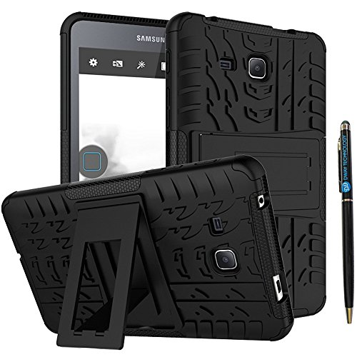 Tab A 7.0 Case 2016 DWaybox 2in1 Combo Hybrid Rugged Heavy Duty Armor Hard Back Cover Case with Kickstand for Samsung Galaxy Tab A 7 Inch 2016 SM-T280 / T285 / Samsung Tab A6 A7 7.0 (Black)