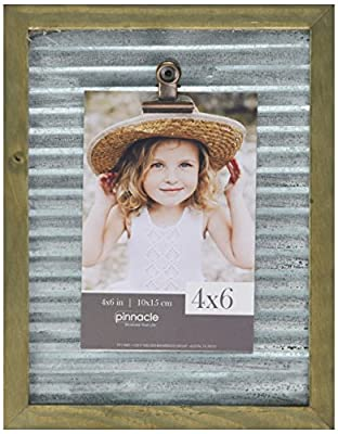 Pinnacle Frames and Accents 7x9 Galvanized Corrugated Metal Clip Tabletop Picture Frame, Silver