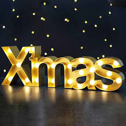 Bright Zeal 5.5″ Tall Large Xmas Christmas Marquee Sign Letters (Gold, 6hr Timer) – Outdoor Christmas Decorations – Rustic Christmas Signs Marquee Light up Letters Christmas Decor – LED Xmas Lights Review