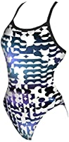 arena Women's Mixed Blur Challenge Maxlife Thin Strap Open Back Onepiece Swimsuit, White/Purple, Size 38