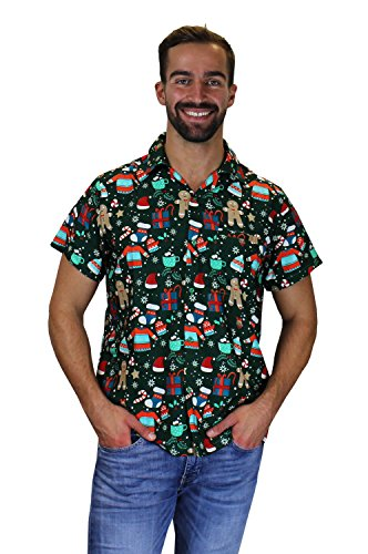 King Kameha Funky Hawaiian Shirt, Christmas Gingerbread, green, XXL (Shirts T Christmas Funky)