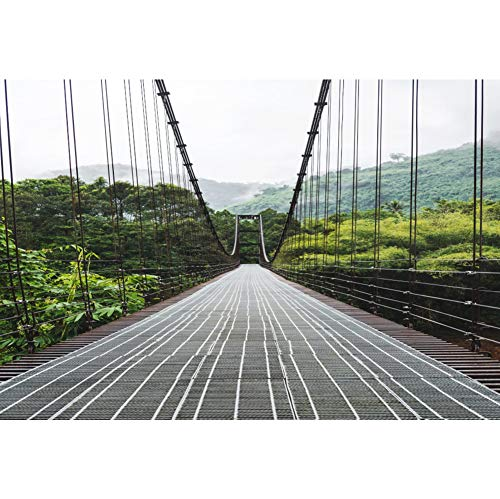 Laeacco Tropical Nature Scenery Backdrop 7x5ft Steel Suspension Bridge Vinyl Photography Background Green Trees Plants Forest Jungle Mountain Summer Holiday Party Decor Studio Photo Prop Poster ()