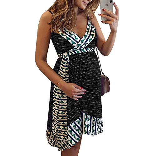 Yeshire Womens Summer Spaghetti Strap Printed Sleeveless Maternity Loose Sexy Mini Dresses with Belt XXX-Large Black
