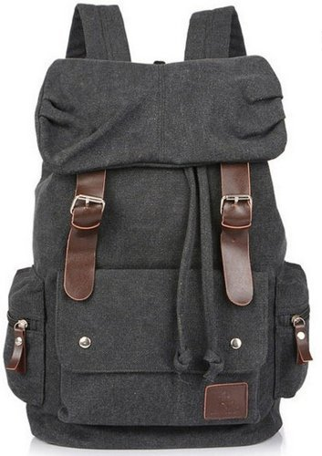 Price comparison product image Eshops Canvas Casual Backpack for Women & Girls Boys Backpacks for Middle School College Book Bags (Black)