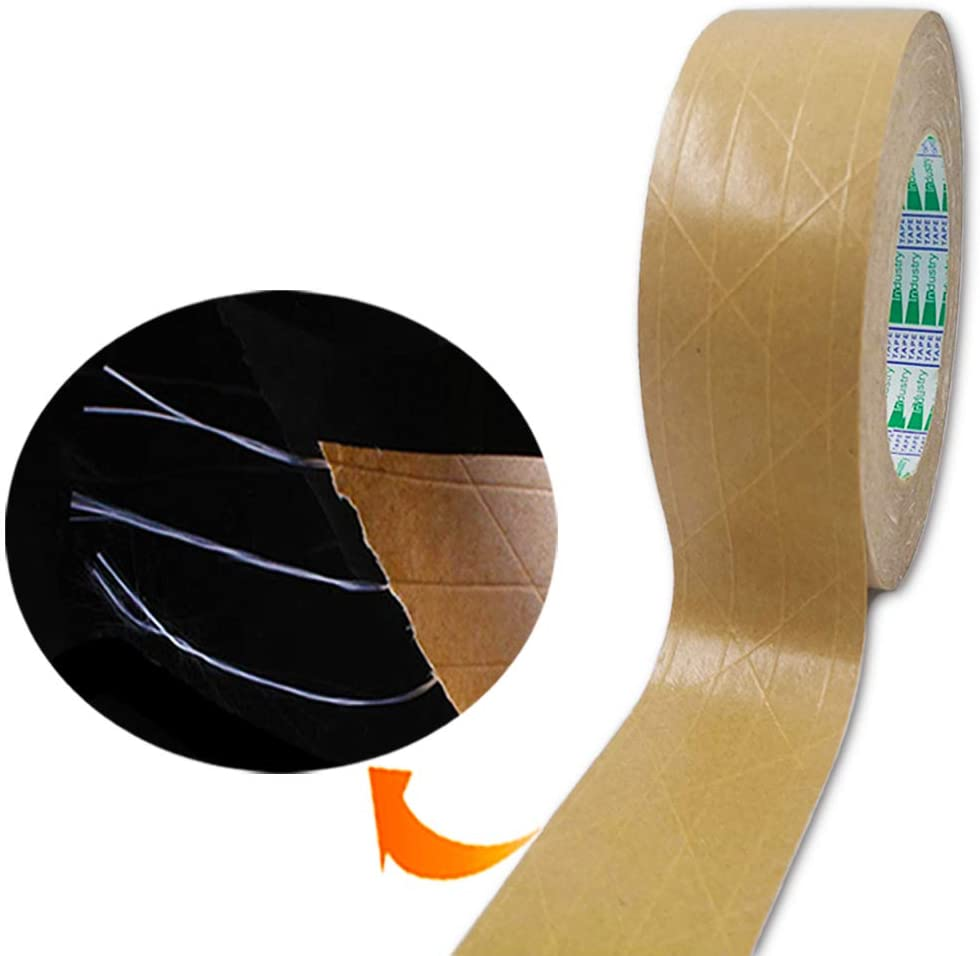 Elepa Reinforced Kraft Paper Tape-1.88 Inch X 165 Feet-Self Adhesive Packaging Tape, Used for Heavy Duty Packaging, Warehouse Storage, Shipping