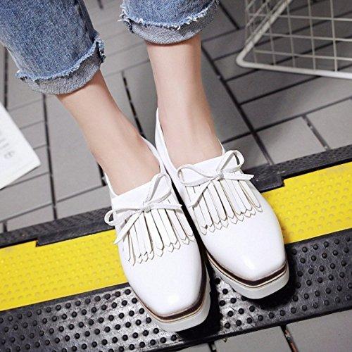 TAOFFEN Shoes Shoes White Women On Wedge Slip Heel Casual RWycRrw1x