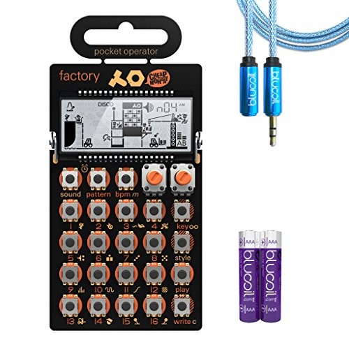 Teenage Engineering PO-16 Factory Pocket Operator Melody Synthesizer –INCLUDES– Blucoil Audio Premium Headphone 3.5mm Extension Cable (6-Feet/1.82 Meters) AND 2-Pack of AAA ()