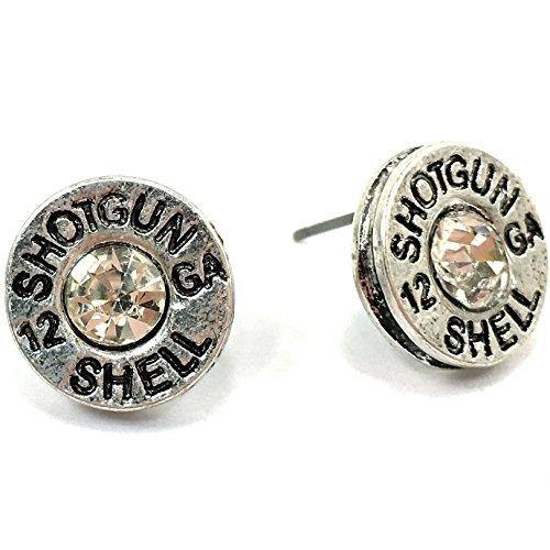 Western Peak Hammered 12 Gauge Shotgun Bullet Shell Earrings (Silver) (Shotgun Shell Jewelry)