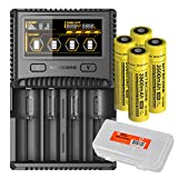 Premium Bundle: Nitecore SC4 Superb Charger w/ 4x 18650 3500mAh Batteries & LumenTac Battery Organizer Bundle - Compatible with 18650 RCR123A 16340 14500 Batteries