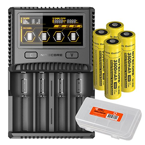 Premium Bundle: Nitecore SC4 Superb Charger w/ 4x 18650 3500mAh Batteries & LumenTac Battery Organizer Bundle - Compatible with 18650 RCR123A 16340 14500 Batteries by Nitecore
