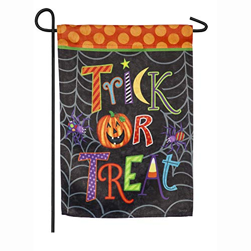 (Evergreen Flag Fun and Cute Trick or Treat Garden Suede Flag 18 x 12.5)