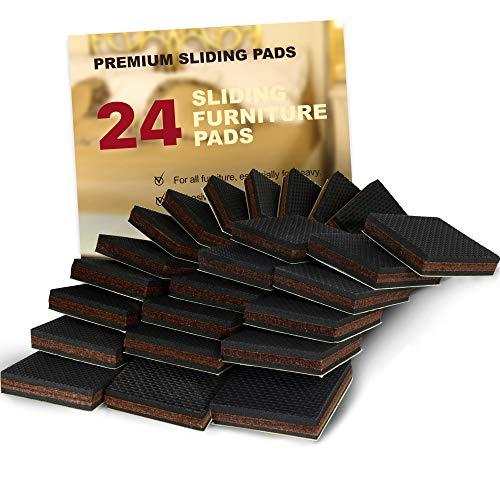 NON SLIP Furniture Pads 24 PCS SQUARE! Premium 2u201d Furniture Feet With Rubber  U0026 Felt   Best ...