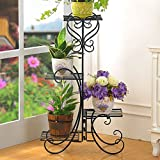 ONXO 4 Tier Black Iron Plant / Shoes Stand, Quarter Round Etagere Plant Corner Shelf Flower Pot Plant Holder Planters Display Rack Indoor / Outdoor (131019)