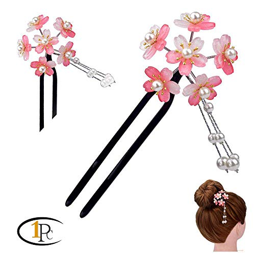 FINGER LOVE Acrylic 2-Prong Hair Stick Fork Hairpin with Gradient Flower Cluster & Faux Pearl Tassels (Pink)