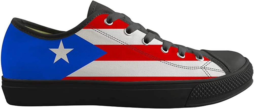 Canvas Low Top Sneaker Casual Skate Shoe Mens Womens Puerto Rico Flag