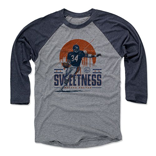 - 500 LEVEL Walter Payton Baseball Tee Shirt X-Large Navy/Heather Gray - Vintage Chicago Football Raglan Shirt - Walter Payton Chicago Skyline