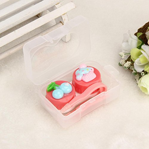 Price comparison product image Cute Food Shape Travel Portable Contact Lens Lenses Container Case , Tuscom 1 pcs contact lens case (6x 4x2.5cm,  Red)