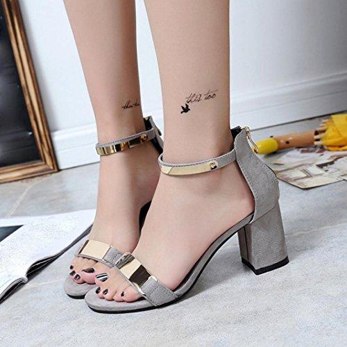 Sandalias de vestir, Ouneed ® Las mujeres sandalias de tacón grueso dedo del pie gladiador zapatos de verano Gris