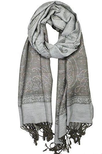 Achillea Women's Two Toned Paisley Lurex Jacquard Pashmina Shawl Wrap Scarf (Light - Jacquard Wrap