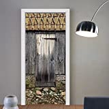 Gzhihine custom made 3d door stickers Rustic Old Wood Barn Door with Nature Items on Roof Village Town Rural Theme Artwork Brown For Room Decor 30x79
