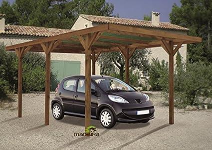 Carport de madera, color marrón con cobertura ENZO 304 512 x cm ...