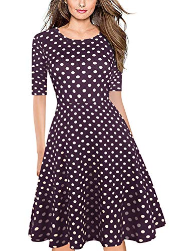 BOKALY Women's Casual Dresses with Pockets Elegant Vintage Polka Dot Floral Round Neck Tunic Stretchy A-Line Swing Work Party Dress BK106 (S, Purple Dot)