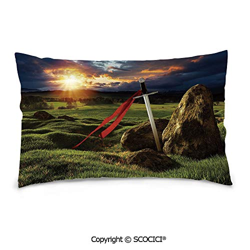 SCOCICI Customized Printed Cotton Rectangle Pillow Case,20