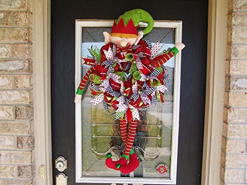 Elf Legs Arms Head Hat Christmas Deco Mesh Front Door Wreath, Yard Decor, Porch Patio Party Decoration, Gift Indoor Outdoor Wall Yard Pro (Mesh Christmas Wreaths)