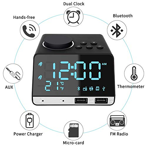 Thpoplete Clock Radio, 4.2 LED Digital Alarm Clock with Dual Port USB Charger, FM Radio, Snooze, Bluetooth AUX TF Card Play, Battery Backup, Large Dimmable LED Display for Bedroom, Best Gift for Men