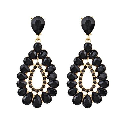 Sinwo 1 Pair Women's Earrings Jewel Diamond Drop Type Pendant Earrings Ornaments Gift (Black)