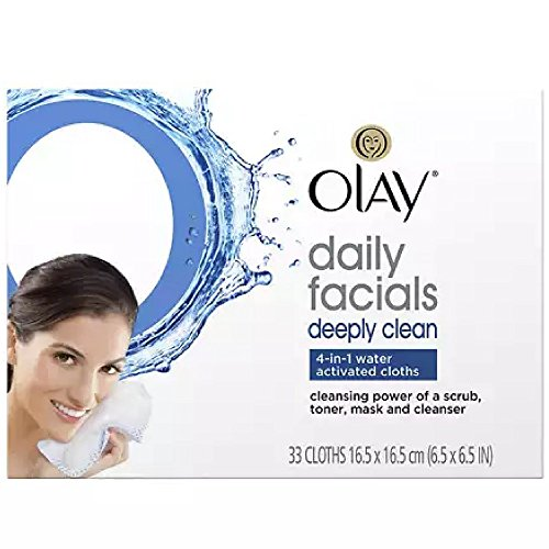 Olay Daily Deeply Clean 4-in-1 Water Activated Cleansing Face Cloths 33ct (Pack of 2)
