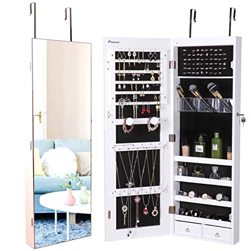 Nicetree Jewelry Cabinet, Jewelry Armoire Organizer with Full Screen Mirror, Wall/Door Mounted, 8 LED Lights, Full Length Mirror, ()