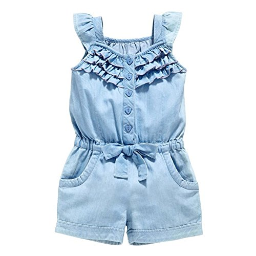 OWIKAR Baby Girls Rompers Lace Denim Vest Shorts Boat Neck Summer Dress,3-4T,100