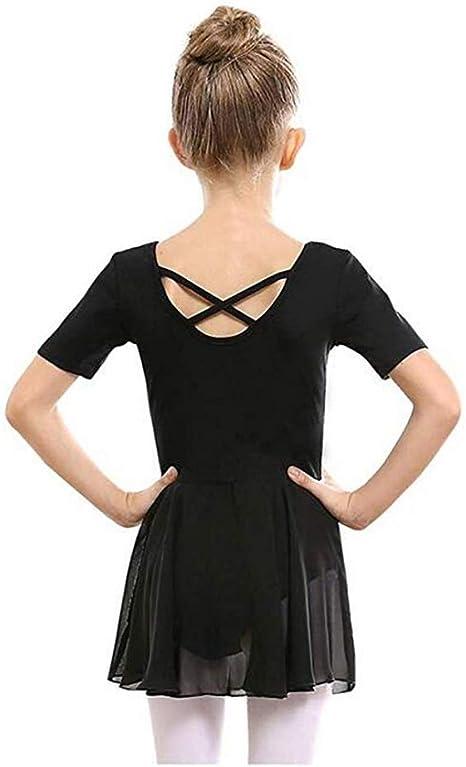 SKYSOAR Kids Girls Ballet Dress Dance Leotard Costume Leotard Children V-neck Short Sleeve Gymnastics Dancewear With Skirt