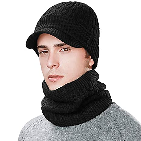 25f31c2537a Men Women 37% Wool Visor Beanie Neck Warmer Knit Cap Winter Hat Fleece Scarf  Set