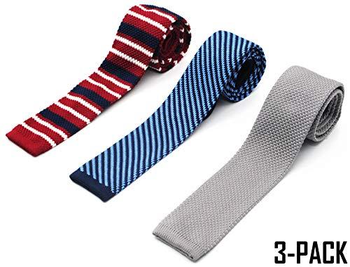 (Skinny Knitted Ties for Men 3-PACK Flat-end Smart Neckties by Zenxus KT003)