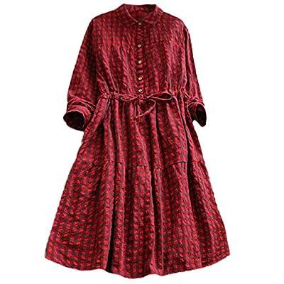 Dress for Women Casual Long Sleeve Plaid Button Down Shirts Dress Classic Maxi Dress