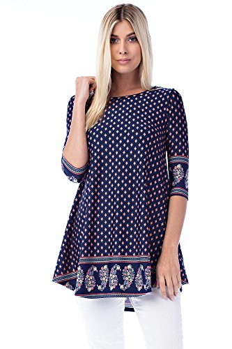 Betsy Red Couture Women's & Plus Size Long & 3/4 Sleeve Soft Knit Tunic Top (1X, BR-B3165-NAVY)
