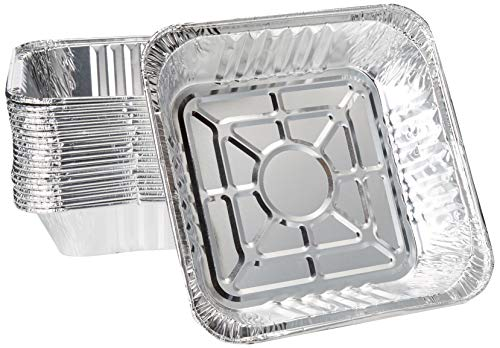 10 x 10 Strong Aluminum Square -Poultry- Baking Pans Pack of 20 Great For Transporting – Disposable Silver Foil Cooking Tins – Ideal for Poultry, Coffee Cakes,