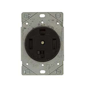 EATON 1257-SP Flush Mount Dryer Power Receptacle, 3P, 4-Wire, 30A, 125/250V, Black