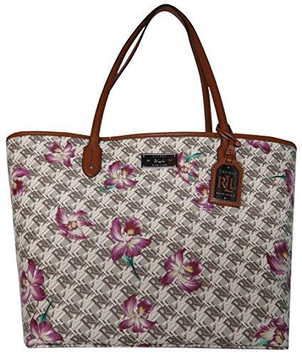 Lauren Ralph Lauren Women's Belknap Classic Tote Handbag, Nat-w-Orch, Purple - Usa Bags Ralph Lauren