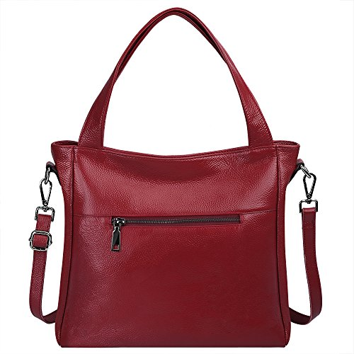 Leather Soft Bag Tote Wine Crossbody Shoulder Women's Shopping Bonzer Lightweight Handbag Purse S Classic Ladies' zone Black Genuine Cowhide Fashion xp4qYwX
